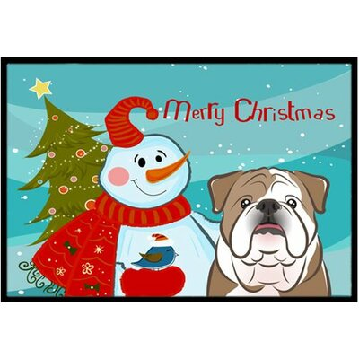 Snowman with English Bulldog Doormat Rug Size: 2 x 3, Color: White