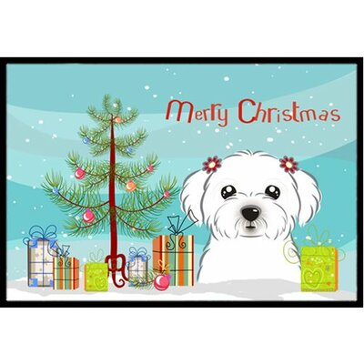 Christmas Tree and Maltese Doormat Mat Size: 2 x 3