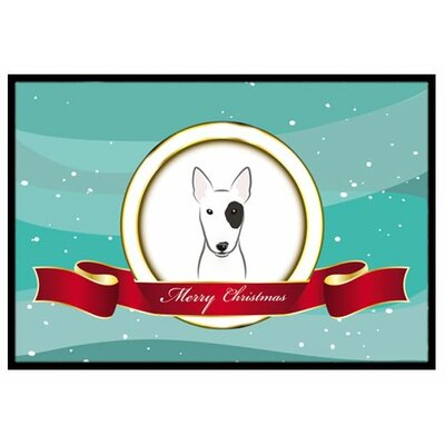 Bull Terrier Merry Christmas Doormat Rug Size: 2 x 3