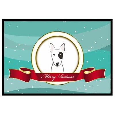 Bull Terrier Merry Christmas Doormat Mat Size: 2 x 3