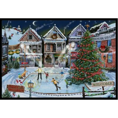 Christmas Family Skate Night Doormat Rug Size: 2 x 3