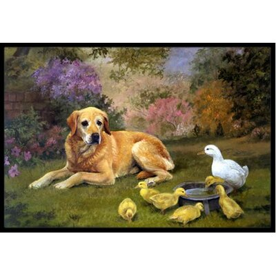 Yellow Labrador and Chicks Doormat Mat Size: 2 x 3