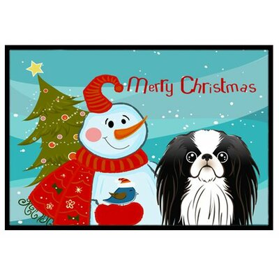 Snowman with Japanese Chin Doormat Rug Size: 2 x 3