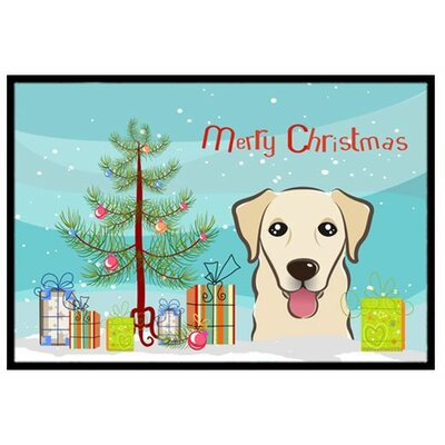 Christmas Tree and Golden Retriever Doormat Rug Size: 16 x 23