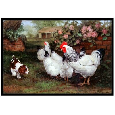 Chickens, Hens and Puppy Doormat Mat Size: 2' x 3'