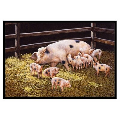 Pigs Piglets at Dinner Time Doormat Rug Size: 16 x 23