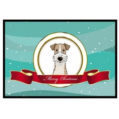 Wire Haired Fox Terrier Merry Christmas Doormat Mat Size: 2 x 3