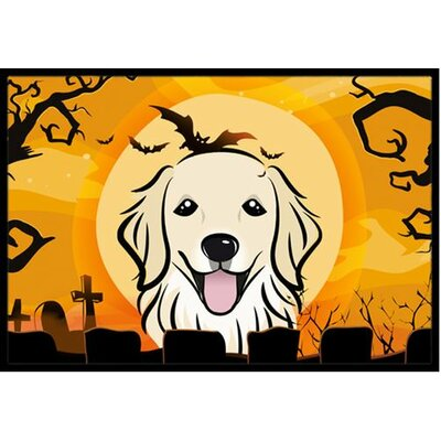 Halloween Golden Retriever Doormat Mat Size: 2 x 3