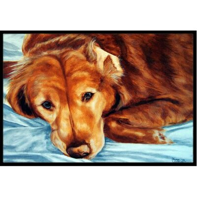Golden Retriever Doormat Mat Size: 16 x 23