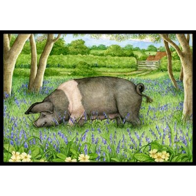 Pig In Bluebells Doormat Mat Size: 16 x 23