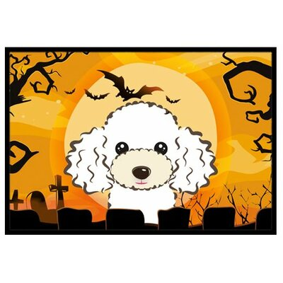 Halloween Poodle Doormat Mat Size: 16 x 23, Color: White