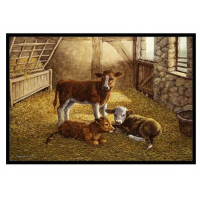 Cows Calves in the Barn Doormat Mat Size: 2 x 3