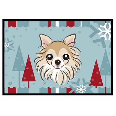 Winter Holiday Chihuahua Doormat Mat Size: 2 x 3