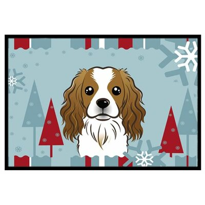 Winter Holiday Cavalier Spaniel Doormat Mat Size: 2 x 3