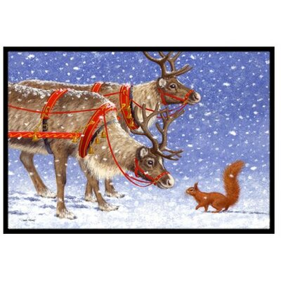 Reindeer and Squirrel Doormat Mat Size: 2 x 3
