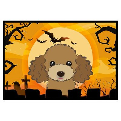 Halloween Poodle Doormat Mat Size: 16 x 23, Color: Chocolate Brown