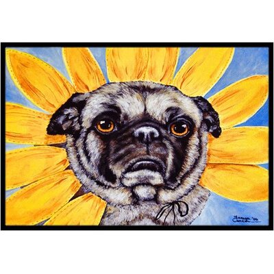 Sunflower Pug Doormat Rug Size: 2 x 3