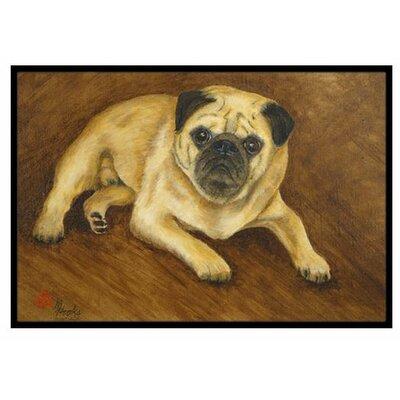 Fawn Pug Roscoe Doormat Rug Size: 16 x 23