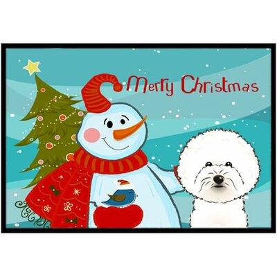 Snowman with Bichon Frise Doormat Rug Size: 16 x 23