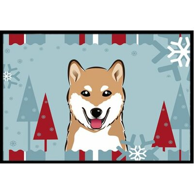 Winter Holiday Shiba Inu Doormat Mat Size: 16 x 23