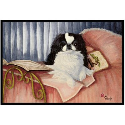 Japanese Chin Reading in Bed Doormat Mat Size: 2 x 3