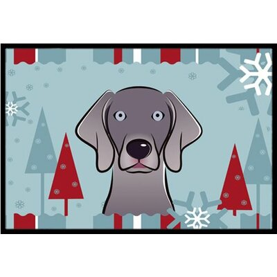 Winter Holiday Weimaraner Doormat Rug Size: 2 x 3
