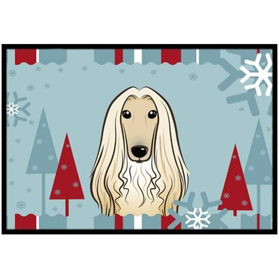 Winter Holiday Afghan Hound Doormat Mat Size: 1'6