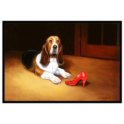 Basset and Shoe Doormat Rug Size: 2' x 3'