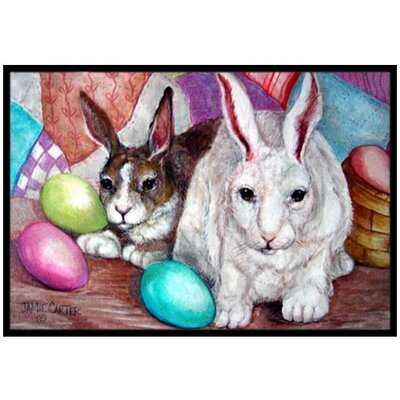 Buddy Buddies Easter Rabbit Doormat Rug Size: 2 x 3