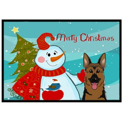 Snowman with German Shepherd Doormat Mat Size: 16 x 23