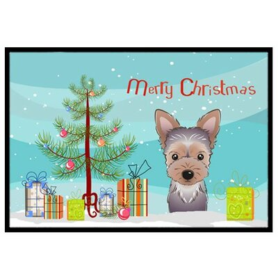 Christmas Tree and Yorkie Puppy Doormat Mat Size: 2 x 3
