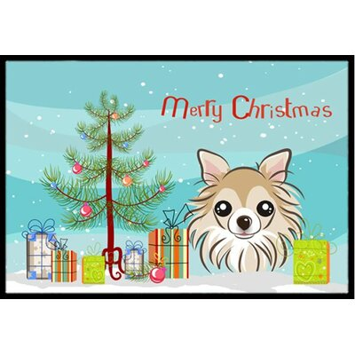 Christmas Tree and Chihuahua Doormat Mat Size: 2 x 3