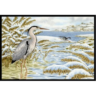 Blue Heron by the Water Doormat Mat Size: 2 x 3