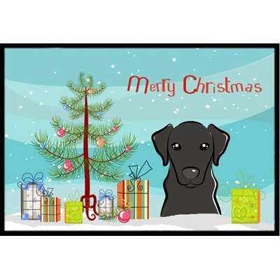 Christmas Tree and Black Labrador Doormat Mat Size: 2 x 3