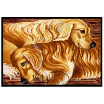 Zeus and Chloie the Golden Retrievers Doormat Mat Size: 2 x 3
