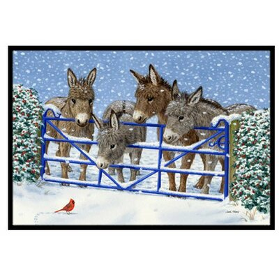 Donkeys and Cardinal Doormat Rug Size: 2 x 3