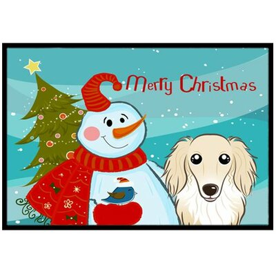 Snowman with Longhair Dachshund Doormat Mat Size: 2 x 3, Color: Cream