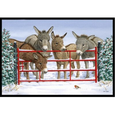 Donkeys and Robin Doormat Mat Size: 2 x 3