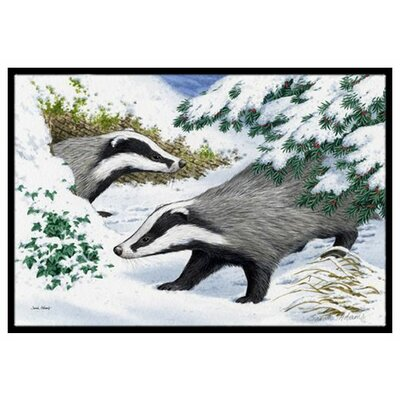 Badgers in the Snow Doormat Rug Size: 2 x 3