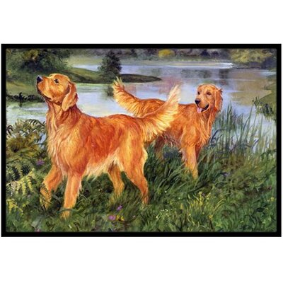Golden Retrievers Doormat Mat Size: 2 x 3