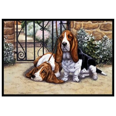 Basset Hound at The Gate Doormat Mat Size: 2' x 3'