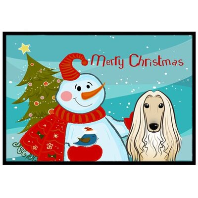 Snowman with Afghan Hound Doormat Mat Size: 2' x 3'