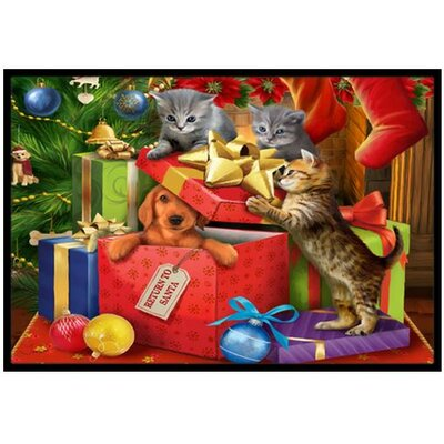Kittens Return Puppy to Santa Claus Doormat Rug Size: 2 x 3