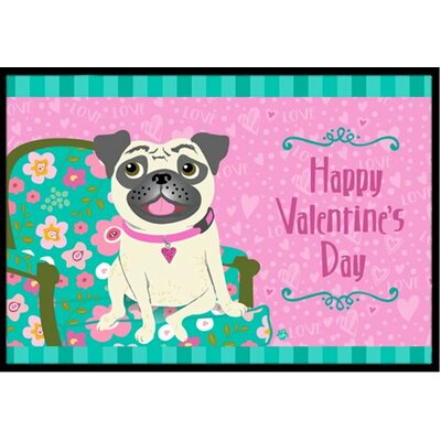 "Happy Valentine's Day Pug Mat Rug Size: 1'6"" x 2'3"