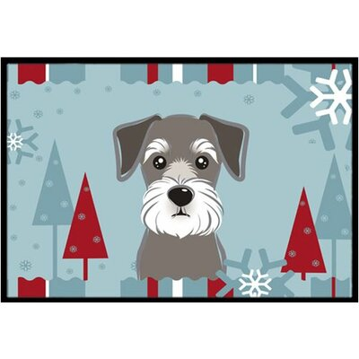 Winter Holiday Schnauzer Doormat Mat Size: 2 x 3