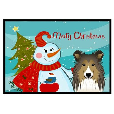 Snowman with Sheltie Doormat Mat Size: 2 x 3