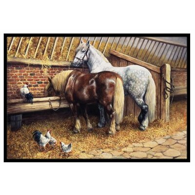 Horses Eating with the Chickens Doormat Mat Size: 2 x 3