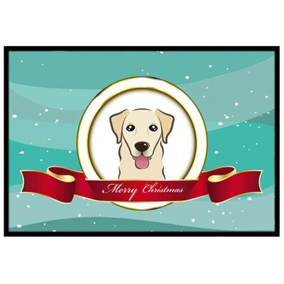 Golden Retriever Merry Christmas Doormat Rug Size: 16 x 23