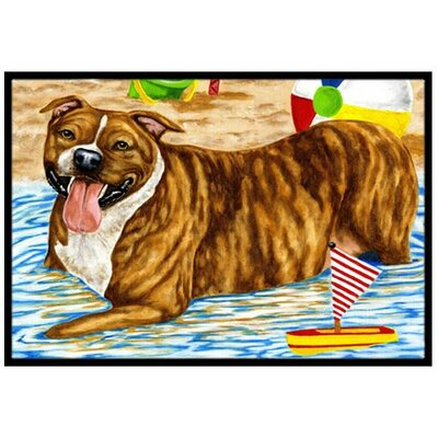 Beach Bum Staffie Doormat Rug Size: 2 x 3