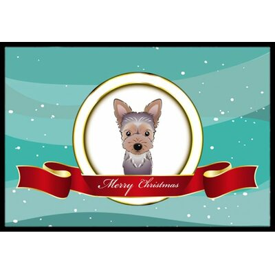 Yorkie Puppy Merry Christmas Doormat Rug Size: 2 x 3